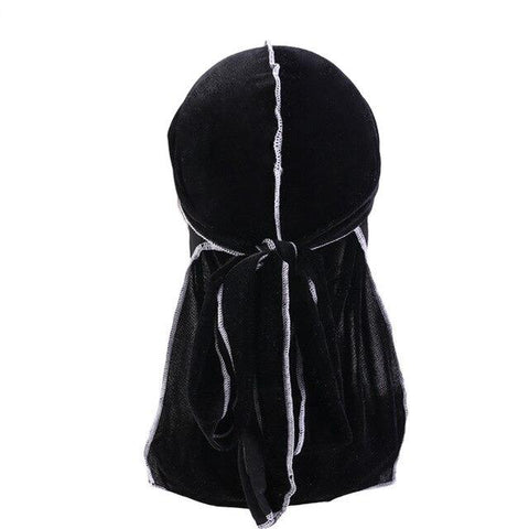 Black velvet durag white seams - Durag-Shop