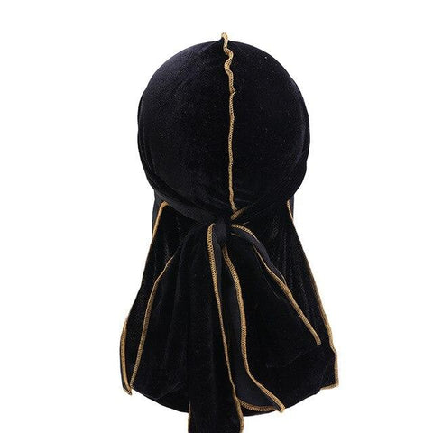 Black velvet durag yellow seams - Durag-Shop