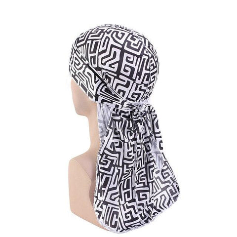Black and white durag with labyrinth effect - Durag-Shop