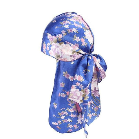 Blue durag with flowers - Durag-Shop