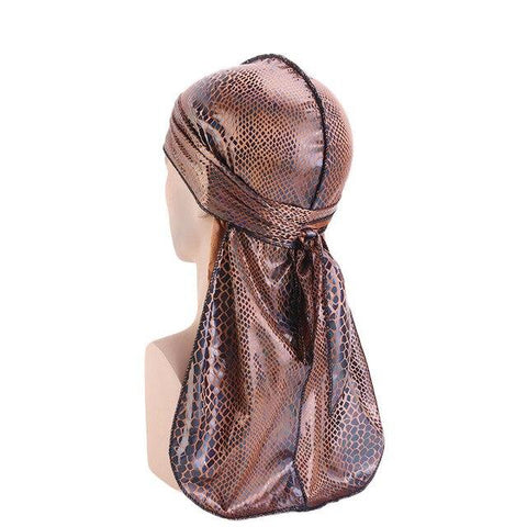 Brown durag with crocodile effect - Durag-Shop