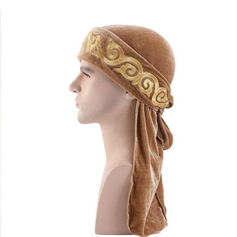 Brown velvet durag with flame pattern - Durag-Shop
