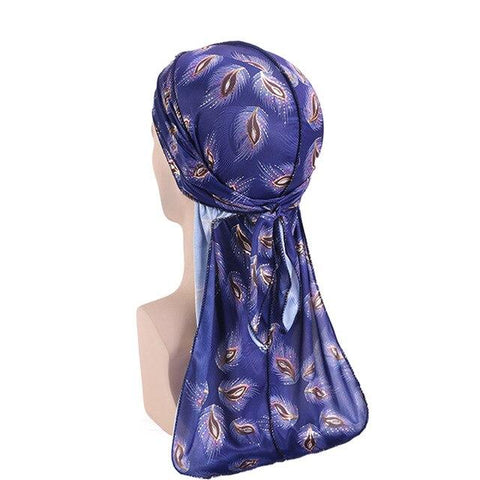Dark blue durag with flowers - Durag-Shop