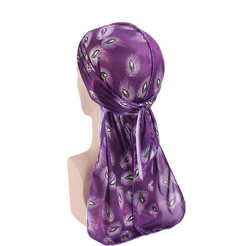 Dark purple durag with flowers - Durag-Shop