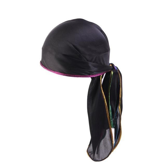 Durag negro con bordes brillantes - Durag-Shop