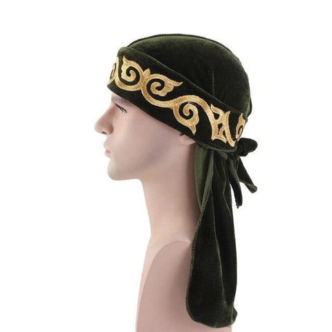 Green velvet durag with flame pattern - Durag-Shop