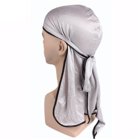 Grey durag black borders - Durag-Shop