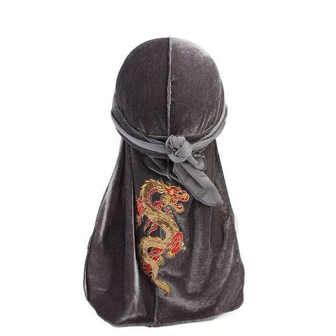 Grey velvet durag with dragon pattern - Durag-Shop