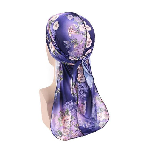 Navy blue durag with flowers - Durag-Shop