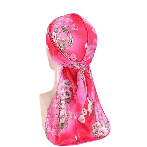 Pink durag with flowers - Durag-Shop