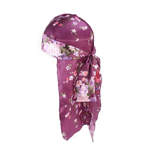 Purple durag with flowers - Durag-Shop
