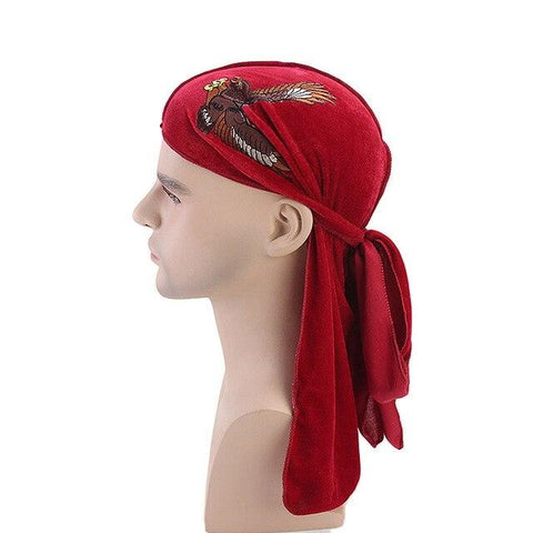 Red velvet durag eagle - Durag-Shop