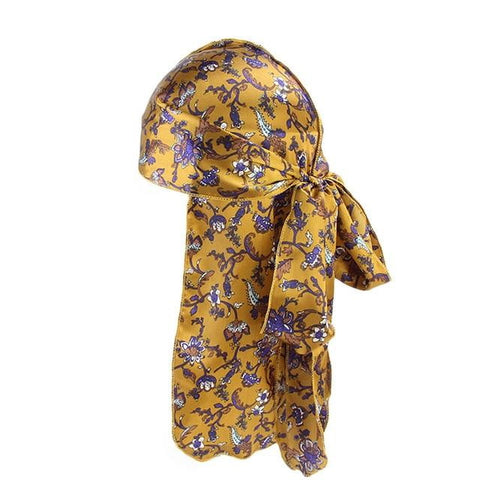 Yellow durag with flowers - Durag-Shop
