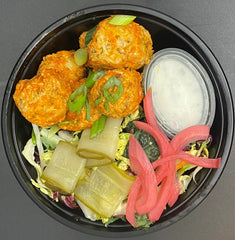 Buffalo Chicken Meatballs - Buffalo Sauce Marinated Chicken Meatballs served with House Pickled Celery and Carrot Sticks and Protein-Packed Ranch Dipping Sauce