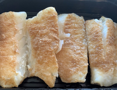 North Atlantic Cod Loin, Lightly Seasoned and Baked. Sold by the pound.