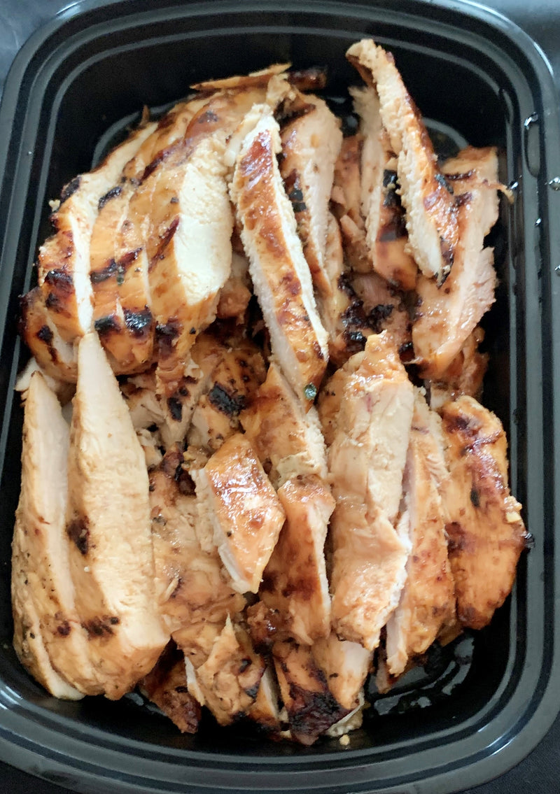 Hoisin Marinated Chicken - Cal: 286 P: 36 C: 21 F: 4 (per 6oz serving)