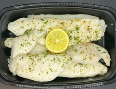 Tilapia Loin Brushed with Lemon and Fresh Herbs and Baked.