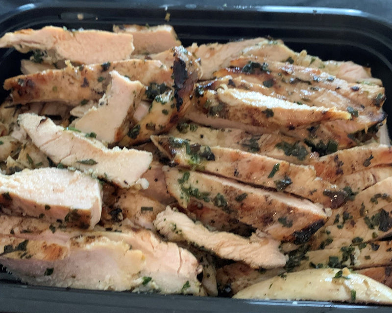 Herb Grilled Chicken Breast - Cal: 157 P: 31 C: 2 F: 3 (per 6oz serving)