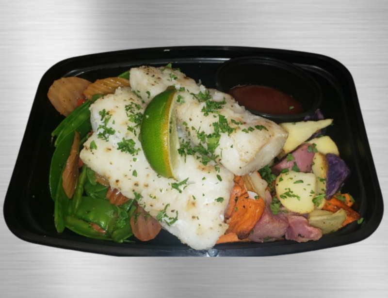 Baked Cod with a Brazilian Style Sweet and Spicy Glaze, Served with a Roasted Potato Medley and Ginger-Citrus Zested Organic Rainbow Carrot Chips and Sugar Snap Peas.