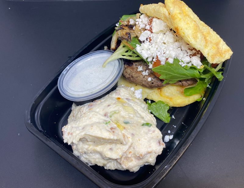 Hand-Pattied Angus Ground Beef, Feta Cheese, Leaf Lettuce, Sweet Onion, Vine-Ripened Tomato and Herbed Yogurt Sauce. Served on a Keto-Approved Cloudie Bun with a Side of Cheesy Mashed Cauliflower.