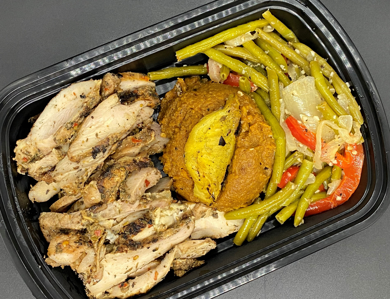 Jerk Chicken Cal: 465 P: 46 C: 45 F: 14 Net Carbs: 37