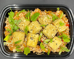 House-Made Kimchi and Jasmine Rice with Crispy Marinated Tofu.