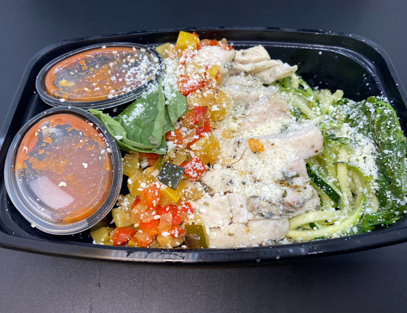 Fresh Zucchini Noodles, Grilled Summer Squash, Sweet Onion, Fresh Spinach, Sliced Grilled Chicken and Fresh Basil in a House-Made Marinara Sauce with Grated Parmesan.
