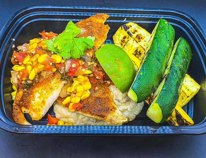 "Peruvian Spiced Baked Tilapia, Grilled Summer Squash, Roasted Corn and Tomato Summer Salsa and Butterbean ""Hummus"", with Fresh Cilantro and Squeeze of Fresh Lime."