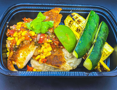 Peruvian Spiced Baked Tilapia, Grilled Summer Squash, Roasted Corn and Tomato Summer Salsa and Butterbean