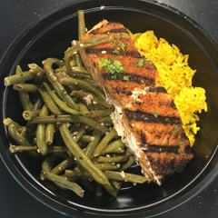 Blackened Salmon Bowl - Cal: 305 P: 26 C: 27 F: 9 Net Carbs: 25