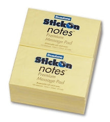 Beautone Stick on Notes 76mm x 125mm Yellow