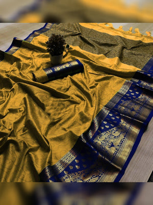 Bindi Pure Soft Cotton Silk Finish Saree With Attached Blouse
