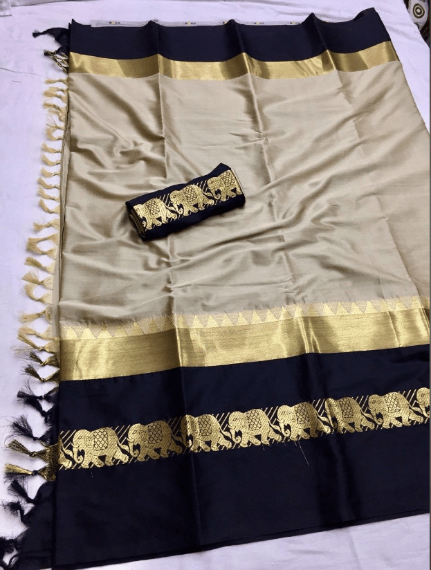 NAINA Patta Pure Soft Cotton Silk Finish Saree With Attached Blouse