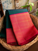 Kanchi Rich  C-Green Rama Color Solft Silk Saree With lovely Pink Pallu