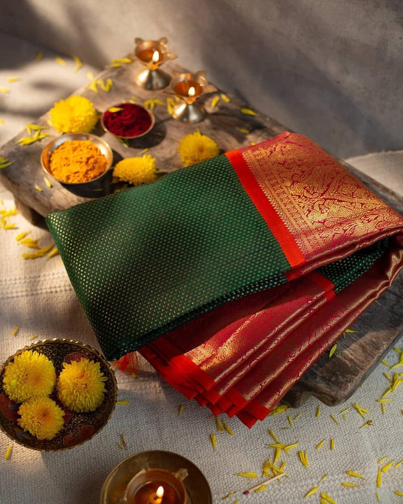 Kanchi Soft Silk Floral Brocade Green Saree With Red Blouse