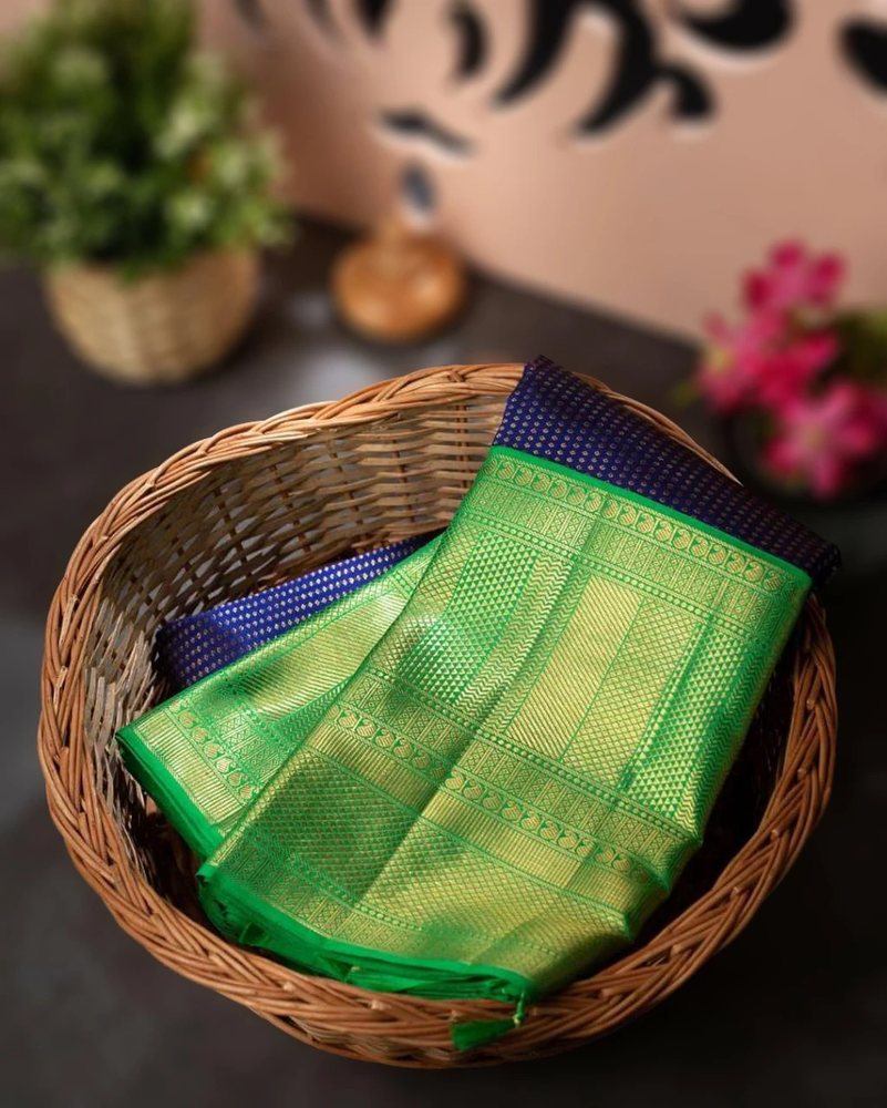 Kanchi Soft Silk Floral Brocade Blue Saree With Green Blouse