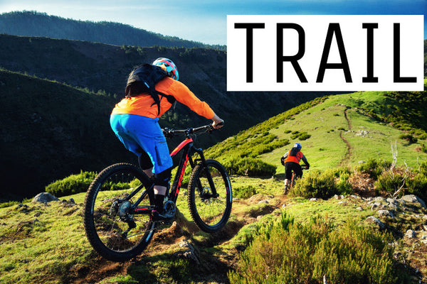Two riders following each other down a beautiful single trail on dual suspension trail style mountain bikes
