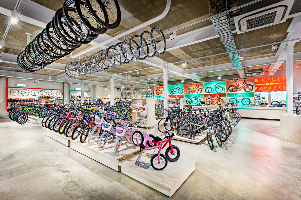 A view of inside the Adelaide bike shop, Bicycle Express.