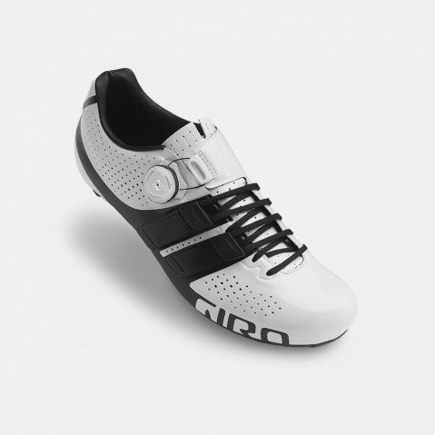 GIRO FACTOR TECHLACE ROAD SHOE - WHITE/BLACK - SIZE 46