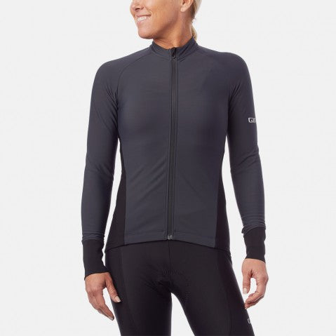 GIRO W'S CHRONO THERMAL LS JERSEY CHARCOAL - LARGE