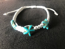 Load image into Gallery viewer, White Chord Bracelet / Anklet with Aqua Starfish Beads
