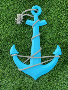 Beautiful 23 inch aqua blue would anchor with rope trim