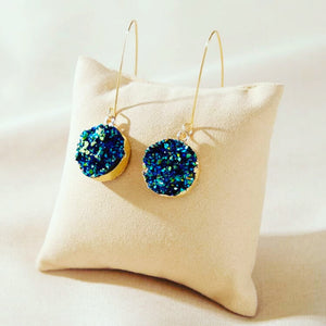 Glistening turquoise blue earrings