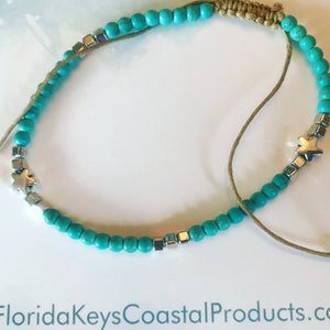 Aqua beads and silver star rope anklet