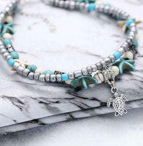Silver and Aqua Turtle Anklet