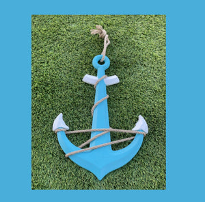 Beautiful  23 Inch Aqua Blue and White Wood Anchor With Rope Accents
