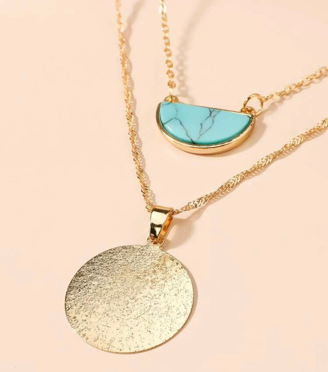 Gold Curcle and Aqua Half Circle Two layered Necklace