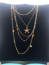 Load image into Gallery viewer, Five Tiered Gold Necklace with Starfish