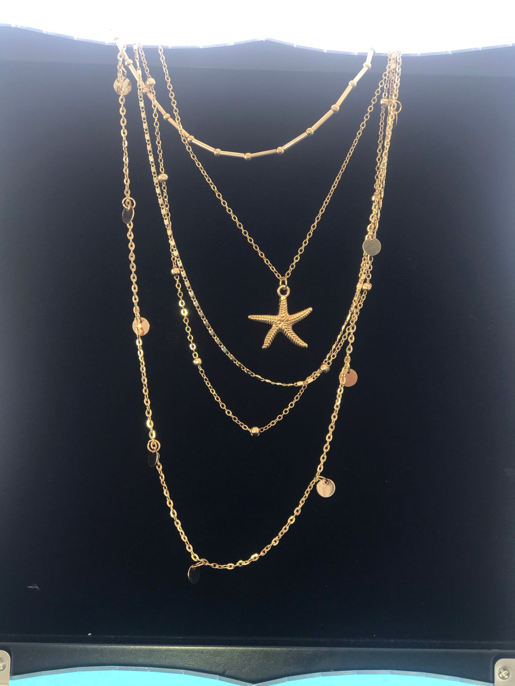Five Tiered Gold Necklace with Starfish
