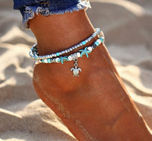 Load image into Gallery viewer, Silver and Aqua Turtle Anklet